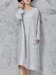 H-line Solid Long Sleeve Linen Dress