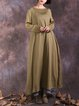 Pleated Crew Neck Long Sleeve H-line Casual Linen Dress