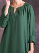 Shift Long Sleeve Casual Embroidered Linen Dress