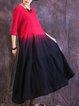 Casual Color-block H-line Linen Dress
