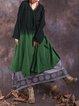 Color-block Solid H-line Casual Linen Dress