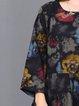 Floral Long Sleeve Casual Cotton-blend Linen Dress