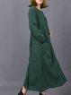 Green Buttoned Crew Neck Long Sleeve Linen Dress