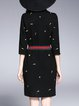 Black Stand Collar Abstract 3/4 Sleeve Patch Midi Dress