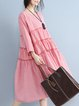 Red Crew Neck Gathered Gingham Casual Linen Dress