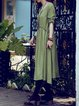 Crew Neck Casual Gathered Linen Dress