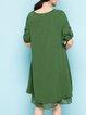Long Sleeve Shift Crew Neck Casual Linen Dress