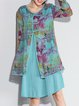 Crew Neck Long Sleeve Casual Printed Linen Dress