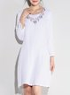 Embroidered Long Sleeve Casual Crew Neck Linen Dress