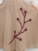 Floral-embroidered Asymmetrical Casual Linen Bottom