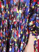 Multicolor Cocoon Floral-print Vintage Polyester Midi Dress