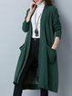 Printed Shift Long Sleeve Cotton-blend Casual Cardigan
