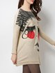 Apricot Batwing Shift Graphic Bateau/boat Neck Sweater