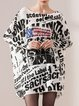 Plus Size Printed Letter Batwing Bateau/boat Neck Sweater