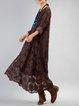 Coffee Shift Guipure Lace Long Sleeve Linen Dress