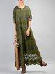 Guipure Lace Casual Crew Neck Linen Dress