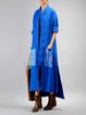 Blue Long Sleeve High Low Pockets Cotton-blend Linen Outerwear