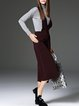 Wine Red Plain Knitted Wide Leg Pants Casual Jumpsuit