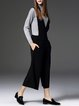 Black Knitted Wide Leg Pants Casual Plain Jumpsuit