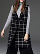 Black Knitted Checkered/Plaid Lapel Sleeveless Vests And Gilet