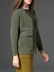 Green Long Sleeve V Neck Pockets Cardigan
