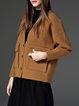 Khaki Casual V Neck Knitted Plain Cardigan