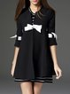 Black Stand Collar Elegant Bow Coat