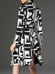 Multicolor A-line Geometric Printed Casual Buttoned Coat