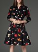 Multicolor Vintage Stand Collar Zipper Polyester Midi Dress