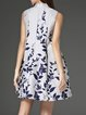 Sleeveless Floral Stand Collar Vintage Floral-print Midi Dress