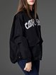 Black Casual Letter Embroidered Cropped Jacket