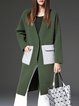 Green Plain Color-block Pockets Casual Coat