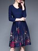 Dark Blue Printed 3/4 Sleeve Midi Dress