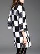 Black-white 3/4 Sleeve Checkered/Plaid Cardigan