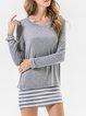 Cotton-blend Paneled Long Sleeve Stripes Mini Dress