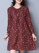 Printed Long Sleeve A-line Casual Floral Linen Dress