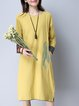 Long Sleeve Casual H-line Embroidered Linen Dress