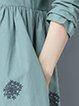 Linen Long Sleeve Crew Neck Printed Casual Linen Dress