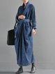 Blue Long Sleeve Slit Linen Dress