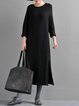 Solid Long Sleeve Polyester Casual H-line Linen Dress
