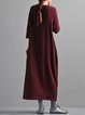 Casual Long Sleeve Ribbed Cotton Crew Neck Linen Dress