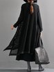 Plus Size Cotton Casual H-line Long Sleeve Solid Outerwear