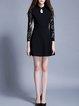 Black Long Sleeve Guipure Lace Midi Dress