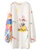 White Polyester Crew Neck Printed Long Sleeved Top