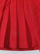 Pleated Solid Girly A-line Midi Skirt