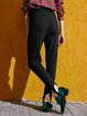Black Zipper Casual Straight Leg Pants