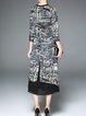 3/4 Sleeve Vintage Asymmetrical Midi Dress