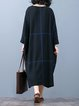 Coffee Long Sleeve Abstract Paneled Cotton Linen Dress