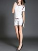 White Two Piece Short Sleeve Checkered/Plaid Fringed Romper