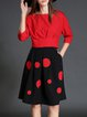 Red Sweet Two Piece Polka Dots Folds Midi Dress